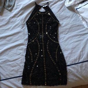 Parker Black Sequin Open Back Bodycon Dress